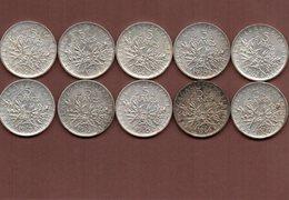 FRANCE LOT De 10 Pièces De 5 Francs Argent - J. 5 Franchi