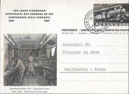 Schweiz Suisse 1947: Bild-PK 100 Jahre Eisenbahn (Bahn > Post) O LA-CHAUX-DE-FONDS 17.II.48 - Entiers Postaux