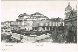 WARSZAWA 1910 Teatr Wielki - Pferde-Tram - Pologne