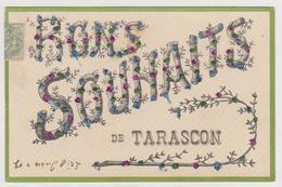 868 _ 13 - CARTE AVEC BRILLANTS BONS SOUHAITS DE TARASCON . SCANS RECTO VERSO - Tarascon