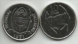 Botswana 10 Thebe 1991. High Grade - Botswana