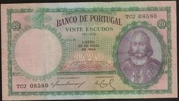 Nota Portugal Capicua - Banknote Portugal Palindrome - 20 Escudos 25 Maio 1954 - D. Antonio Luiz De Meneses - MBC + - Portugal