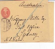 Switzerland 1892 Bern To Sydney Australia 5c Prepaid Newspaper Band - 1882-1906 Coat Of Arms, Standing Helvetia & UPU