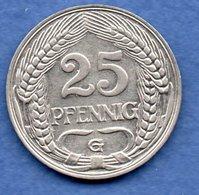 Allemagne   - 25 Pfennig  1911 G -  état TTB - [ 2] 1871-1918 : Impero Tedesco