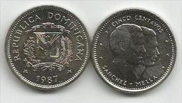 Republica Dominicana  5  Centavos 1987. UNC - Dominicana