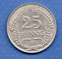 Allemagne   - 25 Pfennig  1910 F -  état TTB - [ 2] 1871-1918 : Impero Tedesco