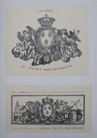 2 Ex-libris Illustrés Français XXème - O. PICOT-BOURNISIEN - Façon XVIIIème Aux Armes De France - Bookplates