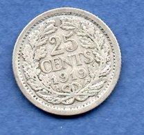 Pays Bas  - 25 Cents  1919  -  état   TB - 25 Centavos