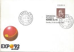 SEVILLA ENTERO POSTAL EXPOSICION UNIVERSAL SEVILLA 1992 MAT PUERTA CARTUJA - 1992 – Sevilla (España)