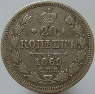 Russia 20 Kopeks 1869 F / VF - Silver - Russie