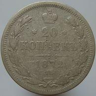 Russia 20 Kopeks 1872 F - Silver - Russia