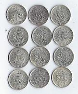 France Monnaie Lot De 12 Pièces De 50 Centimes Argent 1912 Et 1918 - G. 50 Centesimi
