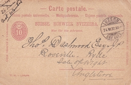 Switzerland 1892 Luzern To Isle Of Wight 10c Prepaid Postcard - 1882-1906 Coat Of Arms, Standing Helvetia & UPU