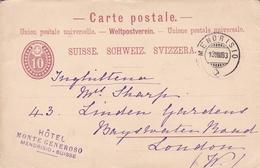 Switzerland 1883 Hotel Monte Generoso Mendrisio To London 10c Prepaid Postcard - 1882-1906 Wappen, Stehende Helvetia & UPU