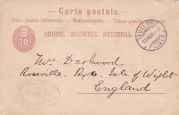 Switzerland 1886 Luzern To Isle Of Wight 10c Prepaid Postcard - 1882-1906 Coat Of Arms, Standing Helvetia & UPU