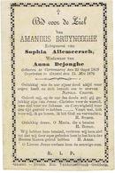 KORTEMARK / GISTEL - Doodsprentje Amandus BRUYNOOGHE - (xS. ALLEMEERSCH En Wedn. A. DEJONGHE)  +1879 - Devotieprenten