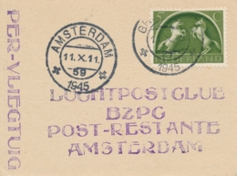 Nederland - 1945 - 5 Cent Germaanse Symbolen Op 1e Na-oorlogse Vlucht Groningen - Amsterdam - Luftpost