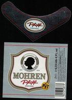 Autriche Lot 2 Etiquettes Argentées Bière Beer Labels Mohrenbräu Mohren Pfiff PET - Bière