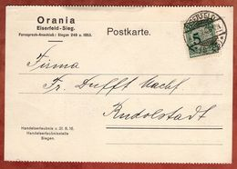 Karte, Orania, Korbdeckel Extreme Passerverschiebung Der 5, Eiserfeld Nach Rudolstadt 1924 (72927) - Alemania