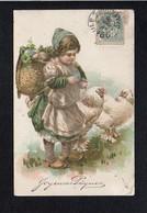 Fête Voeux  / Joyeuses Ou Heureuses Pâques / Fillette,poule,oeufs( Gaufrée ) - Pâques