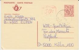 BELGIUM USED CARTE POSTALE LION HERALDIQUE EUPEN KOLN - Postwaardestukken