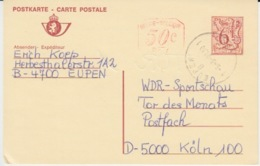 BELGIUM USED CARTE POSTALE LION HERALDIQUE EUPEN KOLN - Stamped Stationery