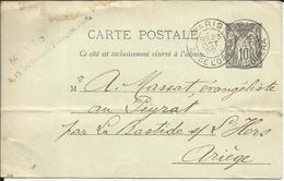 Entier Postal , 10 C , Type Sage , 1896 , N° YT 89 - CP4, Cachets De PARIS ( Av. De L' Opéra ) , LA BASTIDE / L'HERS - Entiers Postaux