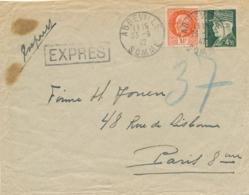 """PETAIN N°521 + 523 Obl """" ABBEVILLE SOMME 23/9/1942 """"  Lettre EXPRES Tarif à 7f50 Pour Paris - Cachets Pneumatiques - 1941-42 Pétain"""