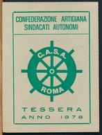 °°° TESSERA C.A.S.A. CONFEDERAZIONE ARTIGIANA 1978 °°° - Old Paper