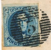 """Belgique N°4   Obl """"3"""" + """" ANDENNES 5/3/51 """" Seul Sur Lettre Pour Bruxelles - 1849-1850 Medallions (3/5)"""