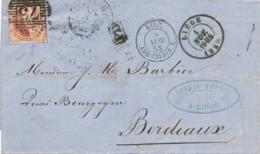 """Belgique N°8   Obl """"73"""" + """" LIEGE 4/11/58 """" Sur Lettre Pour La France - Cachet D'entrée + AMBt DU MIDI - 1851-1857 Medaglioni (6/8)"""