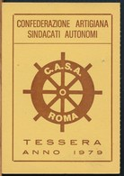 °°° TESSERA C.A.S.A. CONFEDERAZIONE ARTIGIANA 1979 °°° - Old Paper