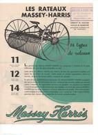 Prospectus Agricole Tracteur MASSEY HARRIS Rateaux Faneurs Conduite Animale No SFV Fiat Ford Someca - Agriculture