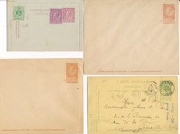 Ensemble De 4 Entiers Postaux Cartes Et Enveloppes Leopold II + Armoiries - Stamped Stationery