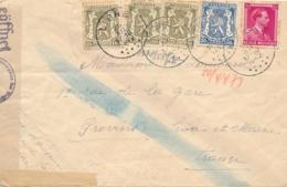 """Belgique Lettre Obl """" LIGNE 26/12/42 """" Avec Bande De Censure + Censure Chimique Pour Provins France - Covers"""