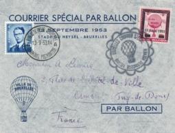 Belgique COURRIER SPECIAL PAR BALLON - VIGNETTE 13/9/53 - Lettre > AMBERT FRANCE - Poststempel