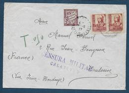 Espagne - Censura Militar  - CALATAYUD  1937 Sur Enveloppe Pour La France - Marques De Censures Républicaines