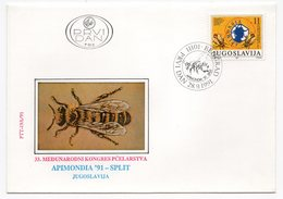 YUGOSLAVIA, FDC, 28.09.1991. COMMEMORATIVE ISSUE: INTERNATIONAL BEEKEEPING CONGRESS, SPLIT, - FDC