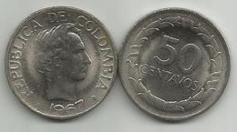 Colombia 50 Centavos 1967.  KM#228 High Grade - Colombia