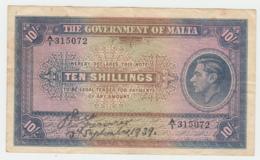 Malta 10 Shillings 1939 VF+ Condition Banknote Pick 13 - Malta