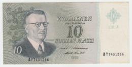 FINLAND 10 MARKKAA 1963 VF+ Pick 104 Litt. A - Finlandia