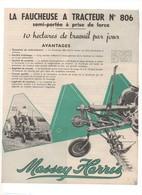 Prospectus Agricole MASSEY HARRIS Faucheuse à Tracteur N° 806 No SFV Fiat Ford Someca - Agriculture