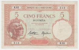 New Caledonia Noumea 5 Francs 1926 VF P 36b 36 B - Nouméa (Nuova Caledonia 1873-1985)