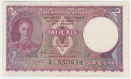 Ceylon 2 Rupees 1942 VF++ Pick 35 - Sri Lanka