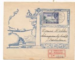 Curacao - 1946 - 1,40 Gulden Luchtpost Op R-cover Van Willemstad Naar Scharnegoutum Bij Sneek - Curaçao, Nederlandse Antillen, Aruba