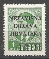 HR 1941-02 DEFINITIVE, CROATIA HRVATSKA, 1 X 1v, MNH - Croatie