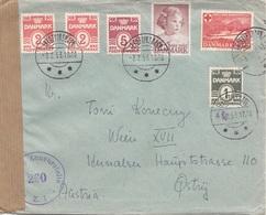 DÄNEMARK ZENSURBRIEF 1953 - 6 Fach Frankierung Auf Zensurbrief Gel.v.Frederikshave > Wien - Dänemark