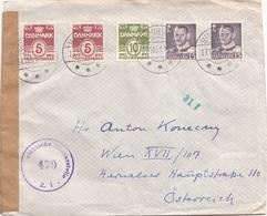 DÄNEMARK ZENSURBRIEF 1951 - 5 Fach Frankierung Auf Zensurbrief Gel.v.Frederikshave > Wien - Dänemark