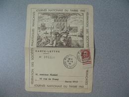 Carte Lettre 1944  N° 517  Type Pétain  Journée Du Timbre  Cachet 18 Avril 1942 Paris 78 Rue Taitbout - Marcophilie (Lettres)