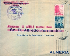 1938 , BARCELONA , EMPRESAS COLECTIVIZADAS , ALMACENES EL AGUILA SOCIEDAD OBRERA , CIRCULADO A ALMERIA - 1931-Today: 2nd Rep - ... Juan Carlos I
